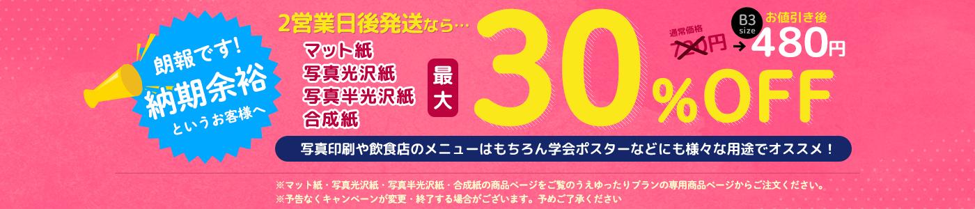 2営業日後の発送で写真光沢紙、写真半光沢紙が最大30%OFF!!